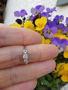Antique Three Stone Diamond Trilogy Engagement  Ring - 18ct