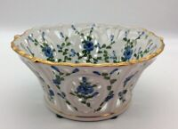 """Andrea by Sadek Reticulated Basket Bowl White Green Blue Flowers Gold Trim 8"""""""