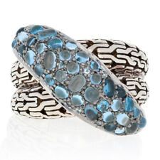 NEW John Hardy Sterling Blue Topaz & Zircon Ring - 925 Classic Chain Crossover