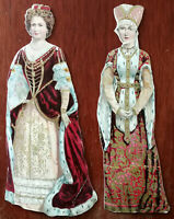 Vintage Decorative Card Cut-outs of 2 Royal Ladies