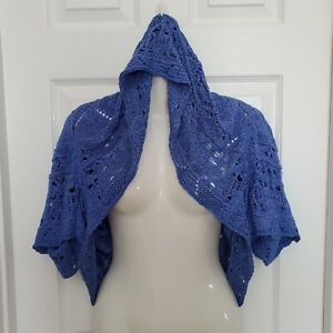 PEPPE PELUSO Blue Crochet Shrug Cardigan Hoodie Cape Shawl Short Sleeve Size L