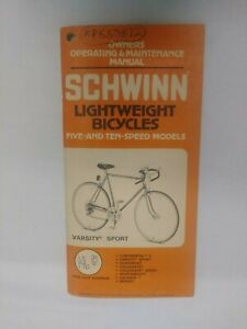 1972 Schwinn Lightweight Bicycles Owners Manual, Varsity Sport 5 & 10 Speed Mode