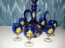 DECANTER HUBNAIL TWIST WITH 6 GLASSES HAND PAINTED, & GOLD TRIM