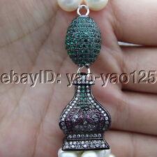S101903 24'' White Pearl Garnet Jade Necklace CZ Pendant