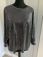 Black & Silver sequinned batwing top, One size, BNWT rrp £27