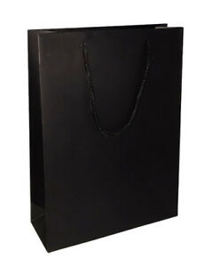 BLACK HIGH QUALITY MATT LAMINATED PAPER CARRIER GIFT BAGS WITH ROPE HANDLES
