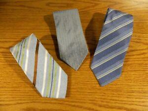 Ermenegildo Zegna Men's Ties 100% Silk  3 ties Made in Italy Blues NWOT  S-29