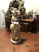 "Made In Japan Woman Figurine Ceramic 7""x 2 1/2"""