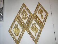 4 VINTAGE GOLD TONE DIAMOND SHAPED SYROCO #4271 PLASTIC WALL HANGINGS