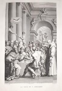 Incisione stampa G. Tomba La cena di San Gregorio 1830 cm 46,5 * 30,6