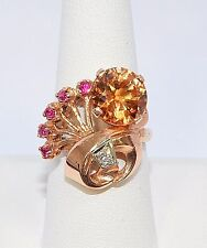2603- *14K ROSE GOLD RUBY & DIAMOND, ORANGE STONE  RING 8.00GRAMS SZ 8