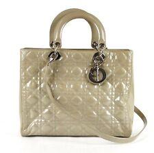 Christian Dior Beige Patent Leather Quilt Medium Lady Dior Shoulder Bag