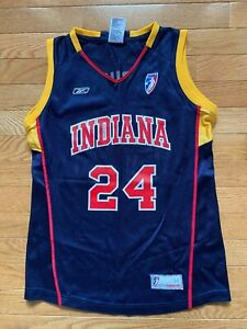 Tamika Catchings Indiana Fever #24 Reebok Navy Gold Jersey Sz M Youth Womens
