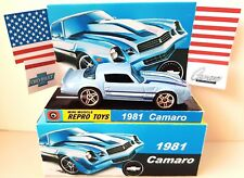 Hot Wheels 1981 Chevrolet CAMARO Blue Diecast Model Car in Custom Box & Display