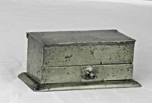 An English Pewter Chest Inkstand with Drawer of the late Georgian Period