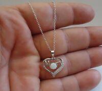 925 STERLING SILVER HEART W/ WORD MOM NECKLACE PENDANT W/ LAB DIAMONDS & OPAL