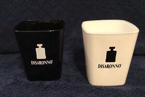 DISARONNO GLASSES 1 Black and 1 White Square Shape 3.75 inches Tall