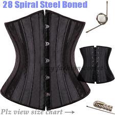 28 Steel Boned Waist Cincher Trainer Black/Beige Underbust Corset Plus Size S-6X