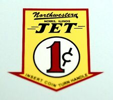 NORTHWESTERN JET ONE CENT, WATER SLIDE DECAL # DN 1076 FOR VENDING
