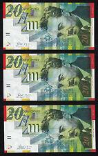Israel 3 Notes, 20 Shekel, 2001 UNC P. 59 b PAPER not polymer! Dealer lot.