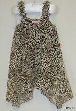 NWT 6X Boutique LIPSTIK GIRLS Leopard Print Chiffon Sidetail Flowy Tank Shirt
