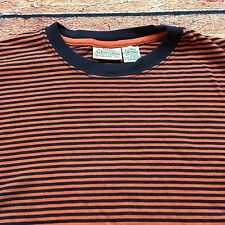 90s VTG GRUNGE Striped XL Black Blue Orange SURF SKATE T Shirt VAPORWAVE Ringer