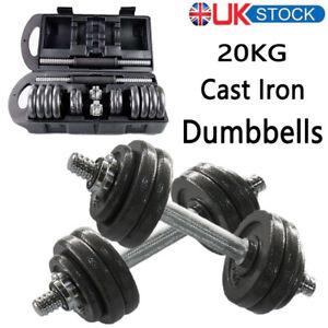 Adjustable Dumbbells Cast Iron Pairs Set 4Kg-20Kg Weights Set Home Gym Workout