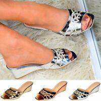 Ladies Wedge Mules Low Heel Sandals SlipOn Metallic Shoes Comfy Diamante Sliders