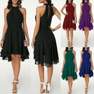 UK Womens Halterneck Mini Dress Chiffon Ladies Evening Party Cocktail Dress Size