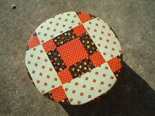 Round Red Polka-Dot & Brown Plaid Tin 8 ¼ Inches Diameter X 3 Inches Deep