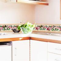 Self-adhesive Bath Kitchen Wall Stair Floor Border Tile Floral Sticker Decor HS