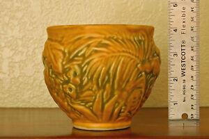 Near-Mint Vintage Weller Pottery Marvo Cabinet Bowl w/ Ferns Flowers & Foliage
