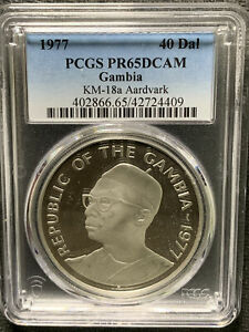 Gambia 1977 40 Dal / Aardvark / PCGS PR65DCAM Beautiful Silver Prf &*No Reserve!