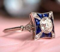 Vintage Art Deco Engagement Ring 14K White Gold 2.45 Carat White Round Diamond