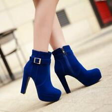 Sexy Womens Round Toe Stiletto Heel Platform ShoesBuckle Side Zipper Ankle Boots