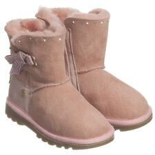 MISS BLUMARINE BABY GIRLS PINK SUEDE DIAMANTE BOOTS EU 26 UK 8.5
