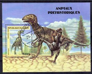 +3081+ CONGO   BLOC ANIMAUX PREHISTORIQUES  1999
