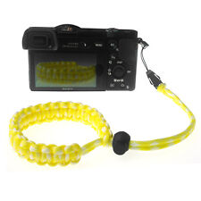 Yellow/White Quick Release Braided 550 Paracord Adjustable Camera Wrist Strap