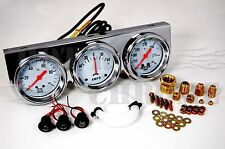 2 5/8'' Oil Pressure Amp Meter Water Temp Triple Gauge Mechanical Chrome Bezel