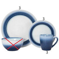 Pfaltzgraff Eclipse Blue 9 Piece Dinnerware Set. Salad & Dinner Plates + Mugs