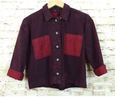 Topshop Boutique Red Overdyed Denim Crop Boxy Jacket Size US 6, UK 10, EURO 38