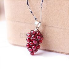 Fashion Women's Natural Wine Red Garnet Grape Shape Pendant Necklace Jewelry