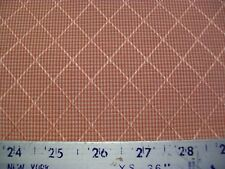 Dark Red & Off White Gingham Check Raised Diamond Upholstery Fabric 1 Yd & 3 in