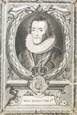 c1700 Jakob James I. König England Kupferstich-Porträt