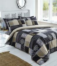 KING SIZE DUVET SET Black gold grey print patchwork quilt cover reversible beddi