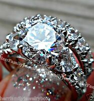 White Gold Sterling Silver Round cut Diamond Engagement Ring Wedding Set Women's