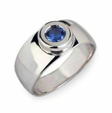 Solid 925 Sterling Silver Natural Gem Stone Blue Sapphire Men's Ring 6-14 US