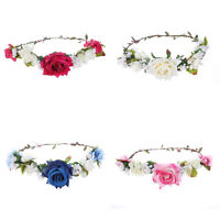 Rose Flower Crown Hairband Headband Wedding Garland Festival Hair Accessories