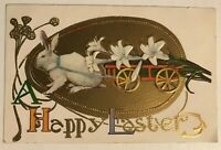 Bunny Rabbit with Flower Cart~Antique Gold~Embossed Easter Postcard-p-376