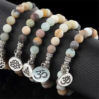 Unisex Matte Amazonite Stone OM Lotus Buddha Yoga Bracelets Chakra Mala Beads JT